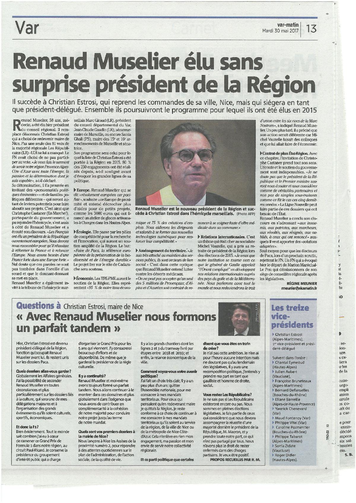 30/05/2017 - Var Matin - Renaud Muselier élu sans surprise président de la Région